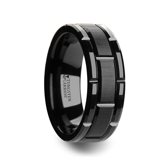 Ophion Beveled Black Tungsten Carbide Wedding Band with Brushed Center and Alternating Grooves from Vansweden Jewelers