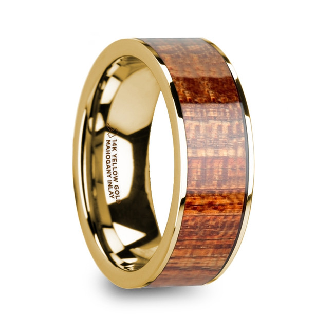 Pothos Polished 14k Yellow Gold Men's Flat Wedding Band with Mahogany Wood Inlay from Vansweden Jewelers