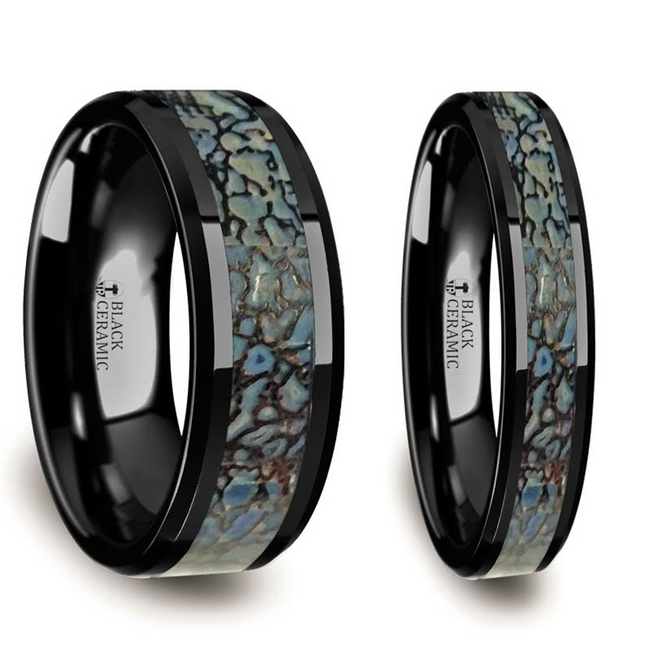 Cymopoleia Blue Dinosaur Bone Inlaid Black Ceramic Couple's Matching Wedding Band Set from Vansweden Jewelers