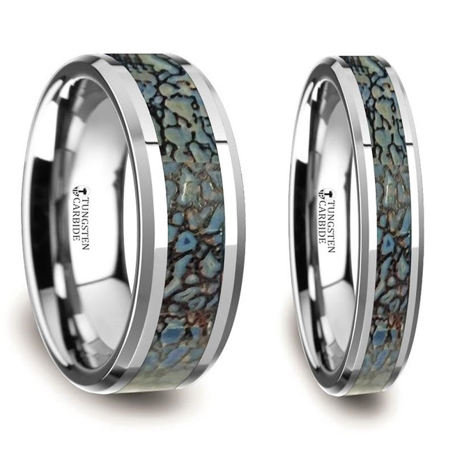 Deino Blue Dinosaur Bone Inlaid Tungsten Carbide Couple's Matching Wedding Band Set