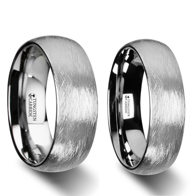 Ceto Textured Tungsten Carbide Couple's Matching Wedding Band Set from Vansweden Jewelers