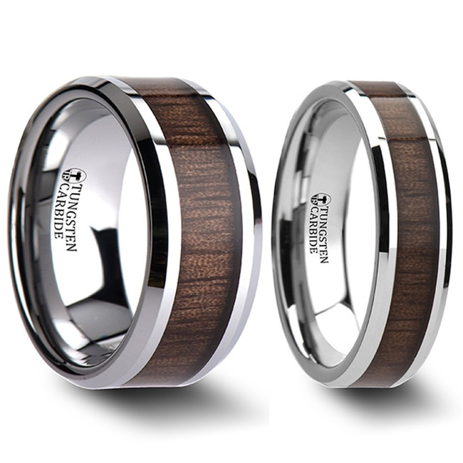 Carme Black Walnut Wood Inlaid Tungsten Couple's Matching Wedding Band Set from Vansweden Jewelers