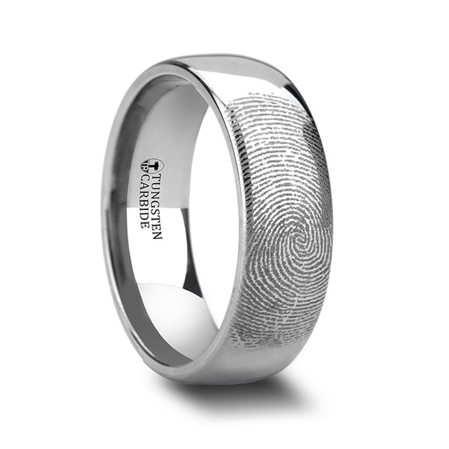 05d9b5fc9ba Amphiaraus Fingerprint Engraved Domed Tungsten Ring from Vansweden Jewelers