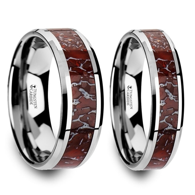 Telemus Red Dinosaur Bone Inlaid Tungsten Carbide Couple's Matching Wedding Band Set from Vansweden Jewelers