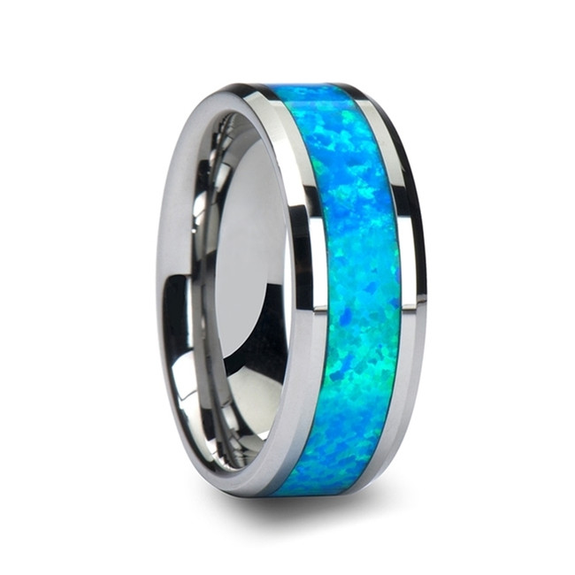 Castor Tungsten Wedding Band with Blue Green Opal Inlay from Vansweden Jewelers