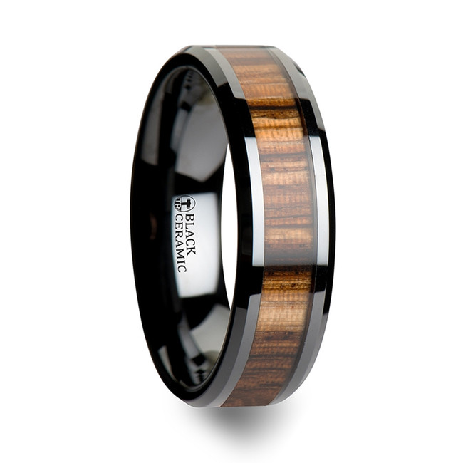 Talos Women's Black Ceramic Ring with Beveled Edges and Real Zebra Wood Inlay from Vansweden Jewelers