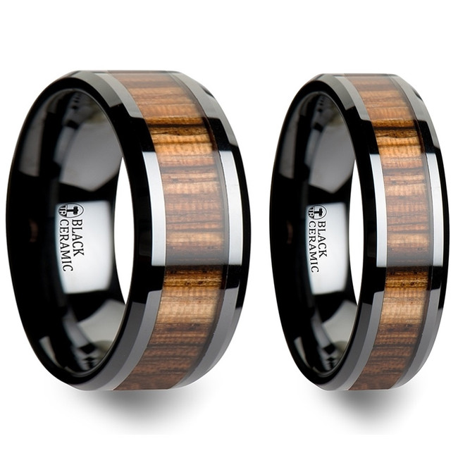 Tityos Real Zebra Wood Inlay Black Ceramic Couple's Matching Wedding Band Set