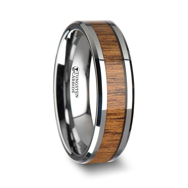 Typhon Women's Tungsten Ring with Polished Bevels and Teak Wood Inlay