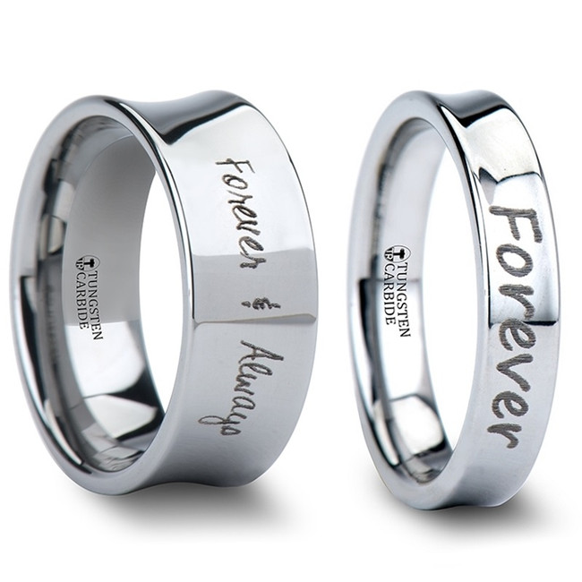 Aella Custom Handwriting Engraved Concave Tungsten Couple's Matching Wedding Band Set