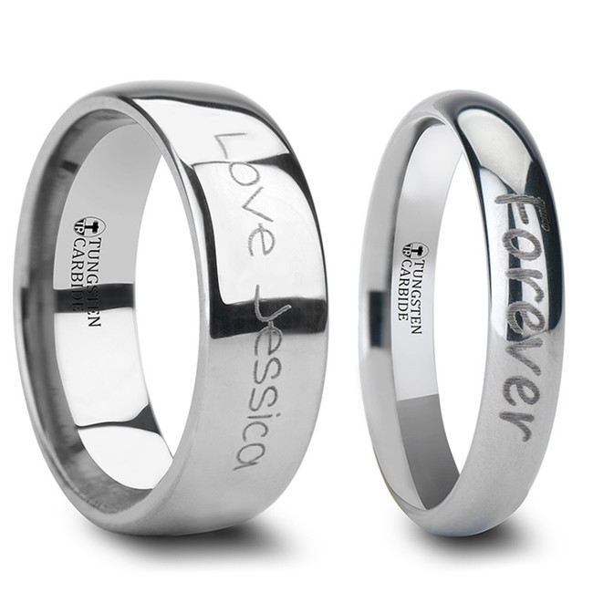 Celaeno Custom Handwriting Engraved Domed Tungsten Couple's Matching Wedding Band Set