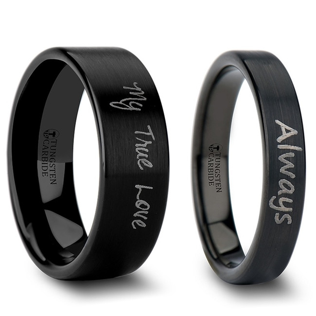 Areto Custom Handwriting Engraved Black Brushed Tungsten Couple's Matching Wedding Band Set