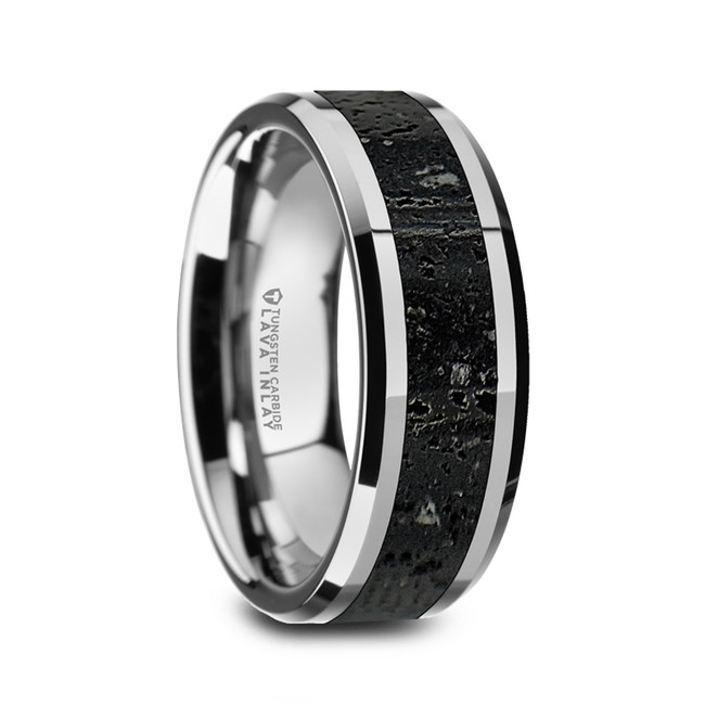 Antandre Men's Polished Tungsten Wedding Band with Black & Gray Lava Rock Stone Inlay & Polished Beveled Edges