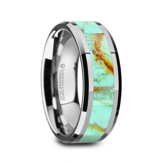 Antiope Men's Polished Tungsten Wedding Band with Light Blue Turquoise Stone Inlay & Polished Beveled Edges