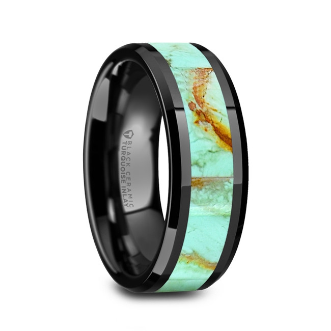 Bremusa Men's Polished Black Ceramic Wedding Band with Light Blue Turquoise Stone Inlay & Polished Beveled Edges