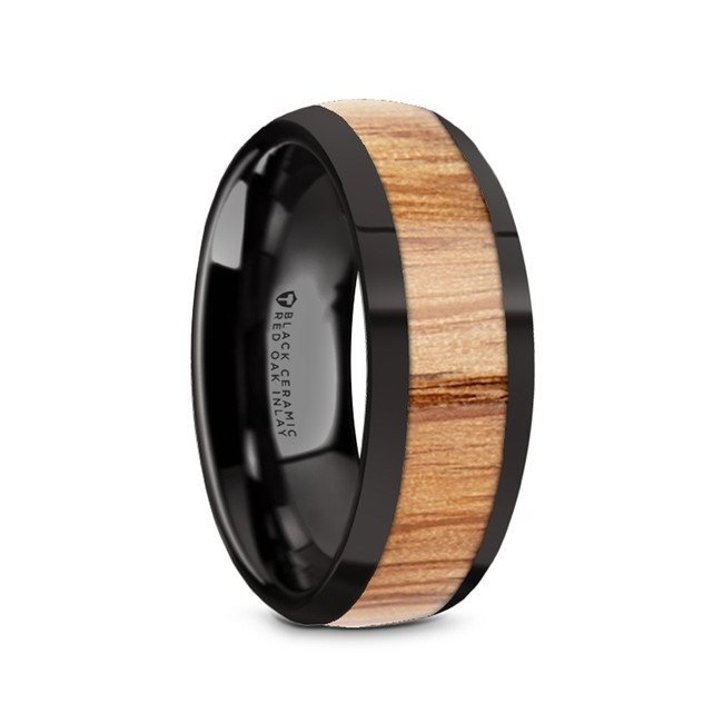 Alcyoneus Black Ceramic Men's Domed Wedding Band with Red Oak Wood Inlay from Vansweden Jewelers