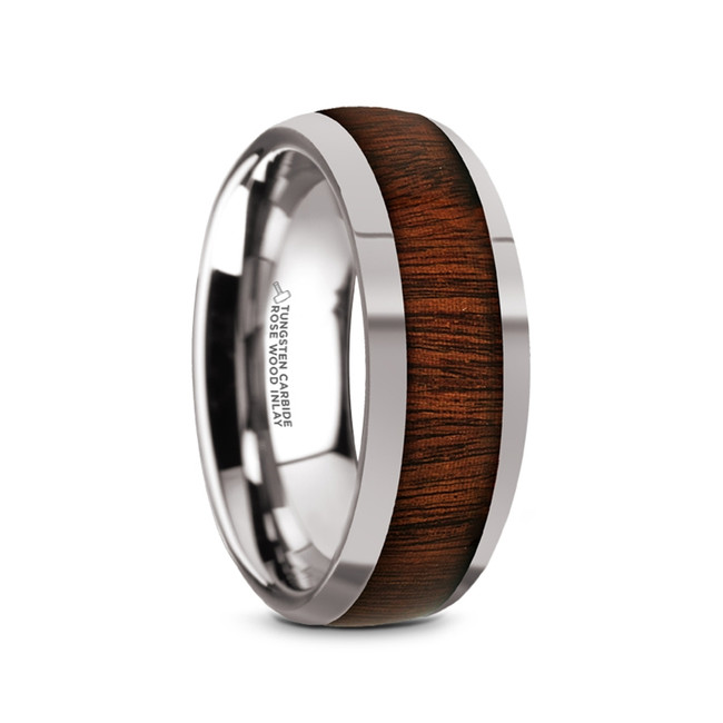 Otus Tungsten Carbide Polished Men's Domed Wedding Ring with Rose Wood Inlay from Vansweden Jewelers