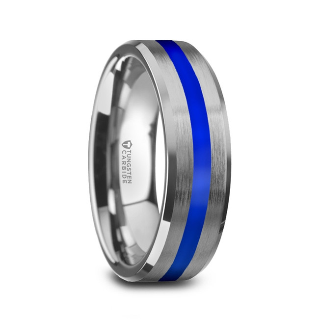 Gegenees Men's White Tungsten Brushed Wedding Ring with Blue Stripe from Vansweden Jewelers