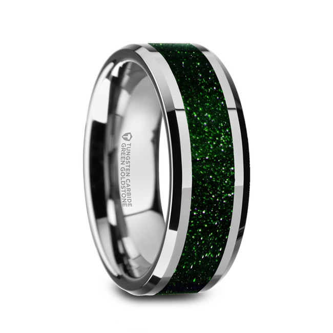 Empusa Men's Polished Tungsten Wedding Band with Green Goldstone Inlay from Vansweden Jewelers
