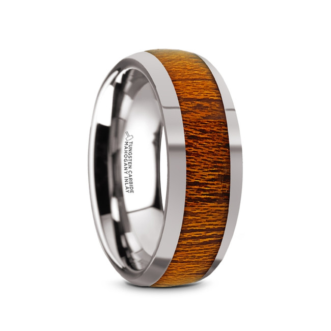 Benthesikyme Tungsten Carbide Men's Domed Wedding Ring with Mahogany Wood Inlay from Vansweden Jewelers