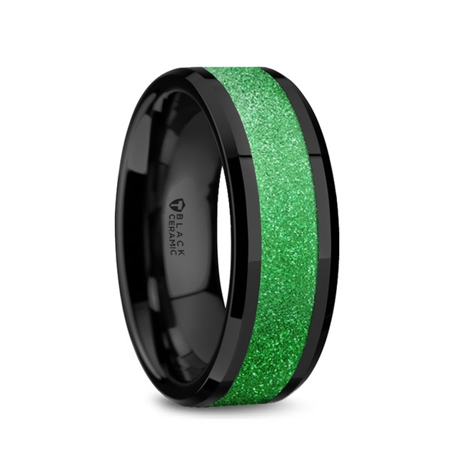 Leucothea Black Ceramic Polished Men's Wedding Band with Sparkling Green Inlay from Vansweden Jewelers