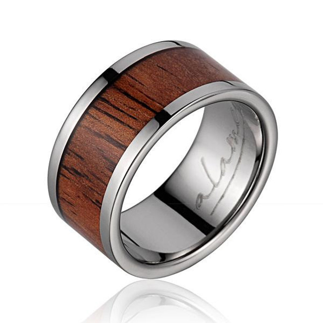 Koa Wood Inlaid Men's Titanium Wedding Band by Jewelry Hawaii