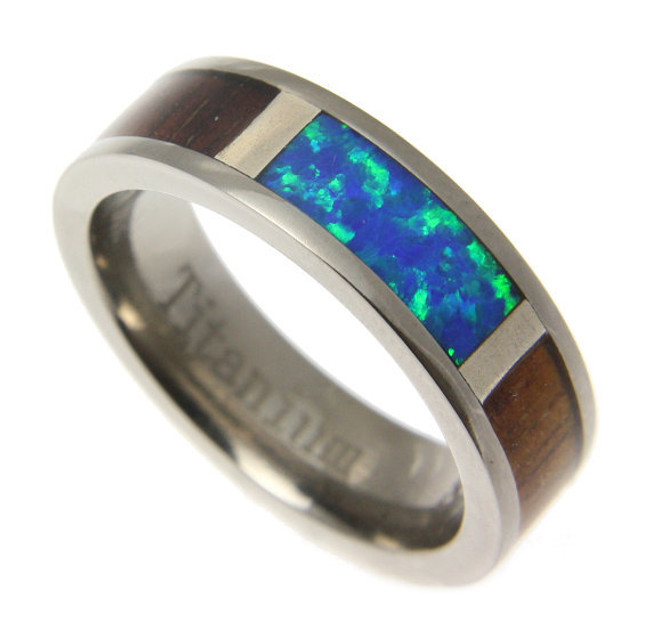 Koa Wood Inlaid Men's Titanium Wedding Band with Blue Green Opal Center by Jewelry Hawaii