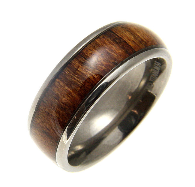 Hawaiian Koa Wood Inlaid Men's Titanium Domed Wedding Band by Jewelry Hawaii