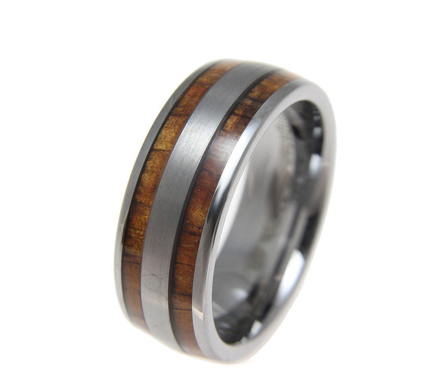 Domed Men's Tungsten Wedding Band with Hawaiian Koa Wood Inlay by Jewelry Hawaii