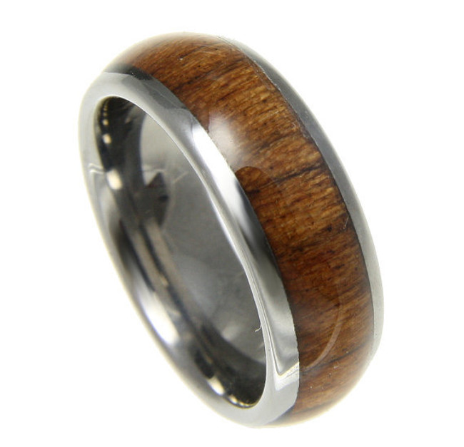 Domed Men's Tungsten Wedding Band with Koa Wood Inlay by Jewelry Hawaii