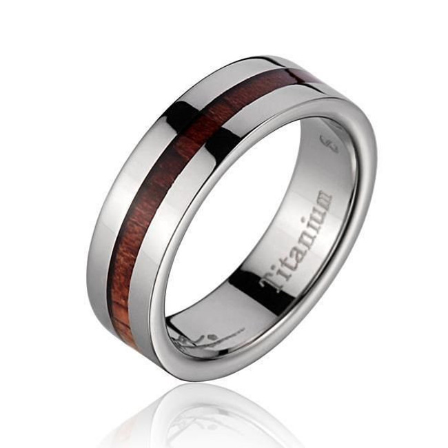 Beveled Titanium Band with Hawaiian Koa Wood Inlay by Jewelry Hawaii
