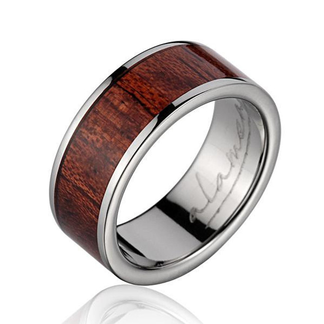 Hawaiian Koa Wood Inlaid Men's Titanium Wedding Band by Jewelry Hawaii