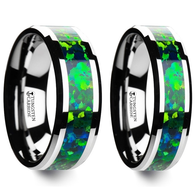 Aesop Green Blue Opal Inlay Tungsten Couple's Matching Wedding Band Set from Vansweden Jewelers