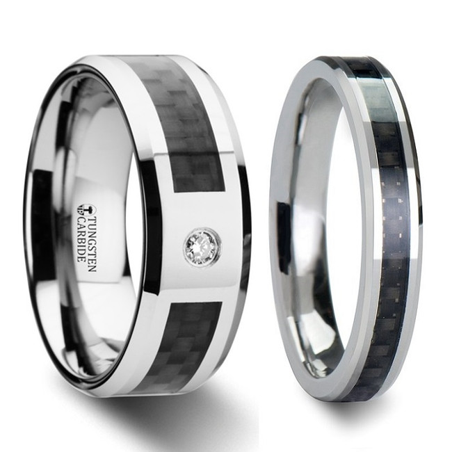 Acratopotes Black Carbon Fiber Inlaid Tungsten Carbide Couple's Matching Wedding Band Set from Vansweden Jewelers
