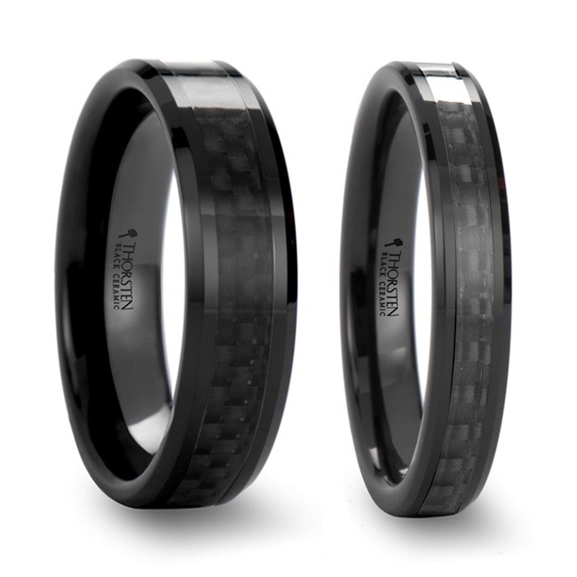 Calleis Black Carbon Fiber Inlaid Black Ceramic Couple's Matching Wedding Band Set