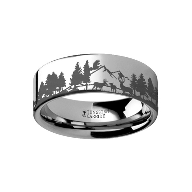 Metaneira Landscape Scene with Deer and Mountain Range Engraved Flat Tungsten Ring from Vansweden Jewelers