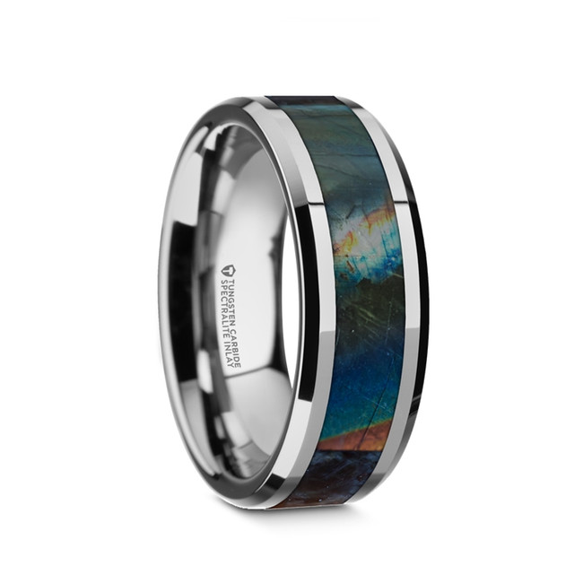 Araros Beveled Tungsten Carbide Wedding Band with Spectrolite Inlay Polished Finish from Vansweden Jewelers
