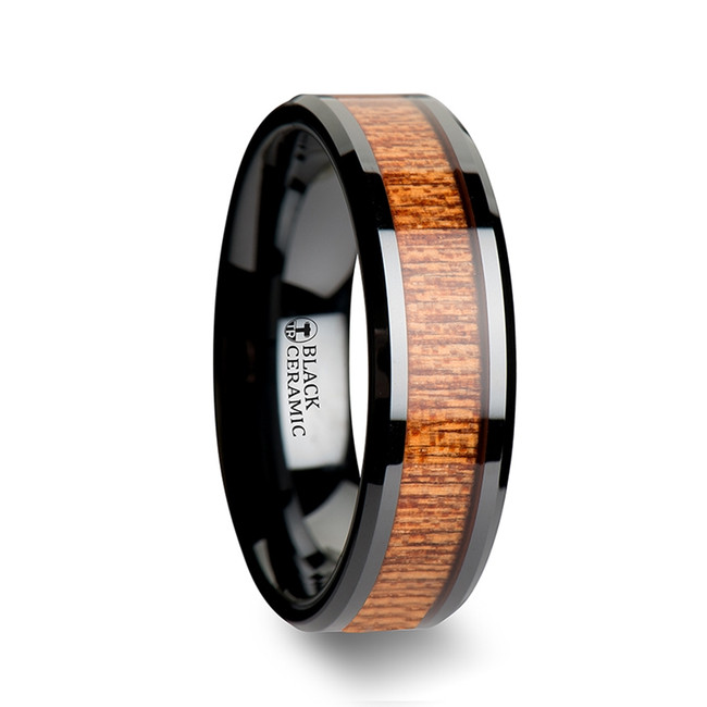 Aristocles Black Ceramic Beveled Wedding Band with African Sapele Wood Inlay from Vansweden Jewelers