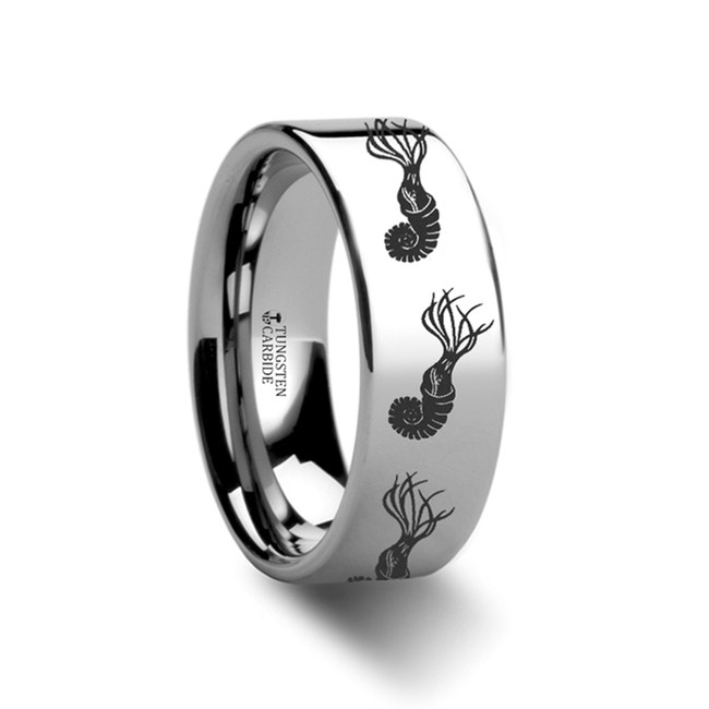 Anaxilaus Dinosaur Engraved Flat Tungsten Wedding Band from Vansweden Jewelers
