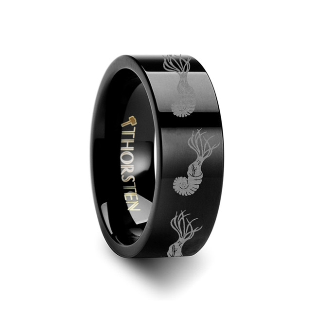 Agresphon Dinosaur Engraved Flat Black Tungsten Wedding Band from Vansweden Jewelers