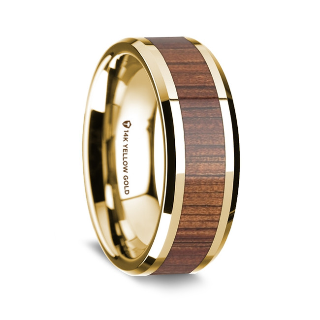Eudemus Polished 14K Yellow Gold Wedding Band with Rare Koa Wood Inlay from Vansweden Jewelers