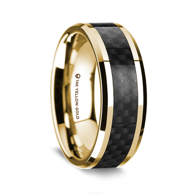 Aristonymus Polished 14K Yellow Gold Wedding Band with Black Carbon Fiber Inlay from Vansweden Jewelers
