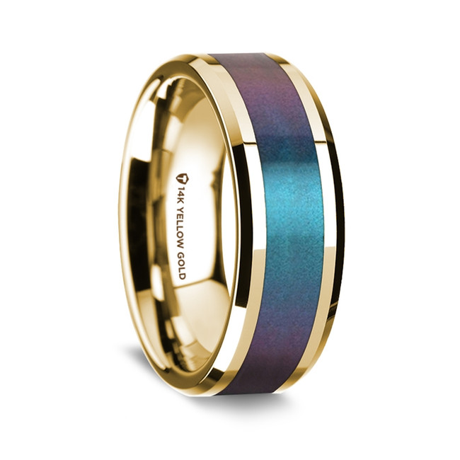 Dosiadas Polished 14K Yellow Gold Wedding Band with Blue & Purple Color Changing Inlay from Vansweden Jewelers