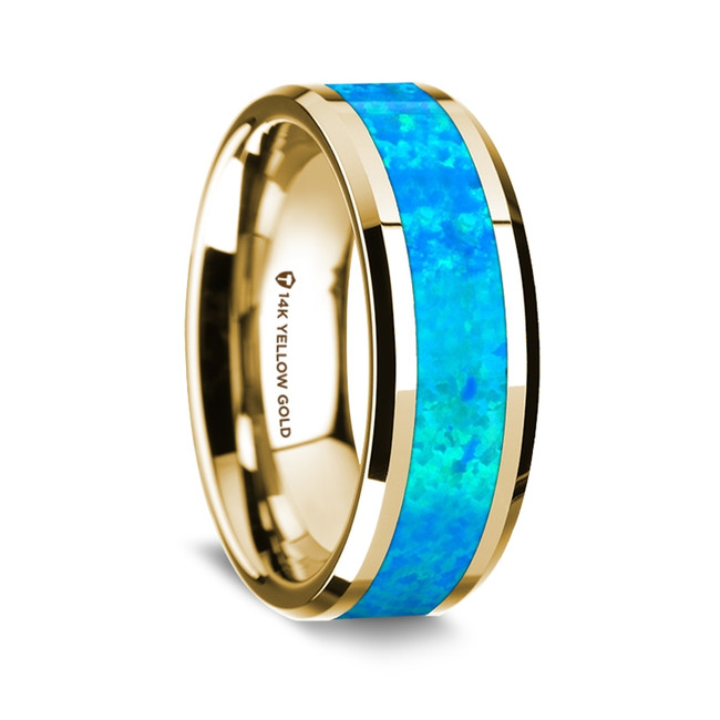 Aristogiton Polished 14K Yellow Gold Wedding Band with Blue Opal Inlay from Vansweden Jewelers