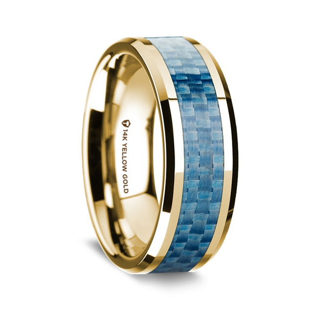 Sophytes Polished 14K Yellow Gold Wedding Band with Blue Carbon Fiber Inlay from Vansweden Jewelers