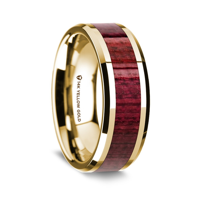 Satyros Polished 14K Yellow Gold Wedding Band with Purpleheart Wood Inlay from Vansweden Jewelers