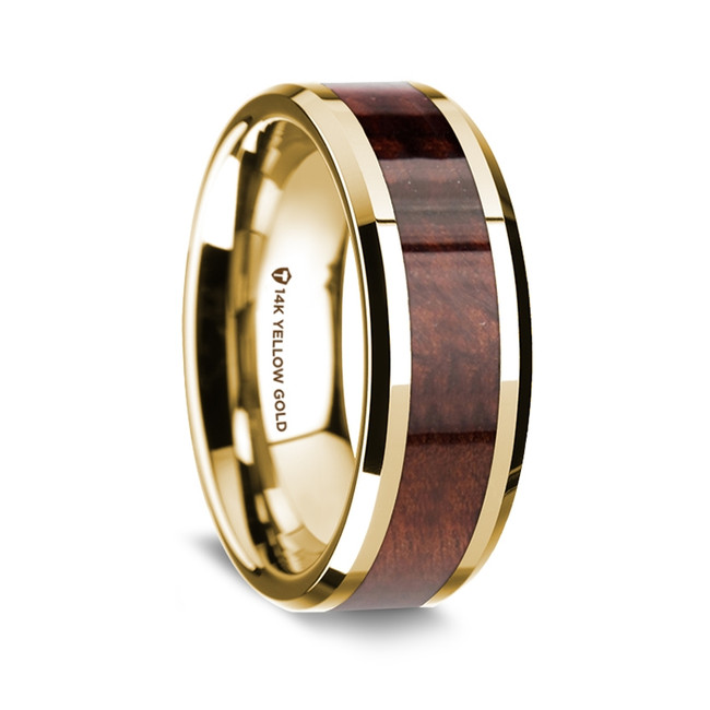 Archinos Polished 14K Yellow Gold Wedding Band with Redwood Inlay from Vansweden Jewelers
