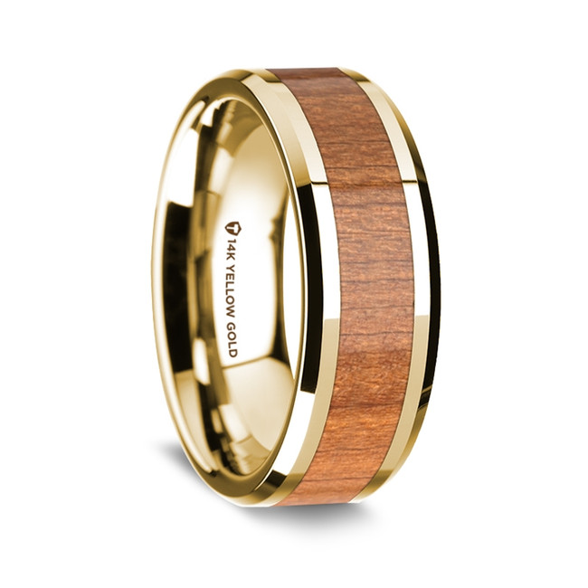 Orestes Polished 14K Yellow Gold Wedding Band with Sapele Wood Inlay from Vansweden Jewelers