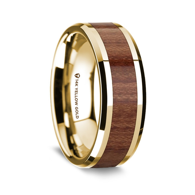 Memnon Polished 14K Yellow Gold Wedding Band with Rosewood Inlay from Vansweden Jewelers