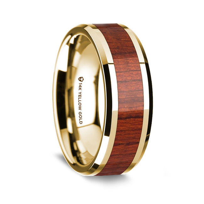 Callimachus Polished 14K Yellow Gold Men's Wedding Band with Padauk Wood Inlay from Vansweden Jewelers
