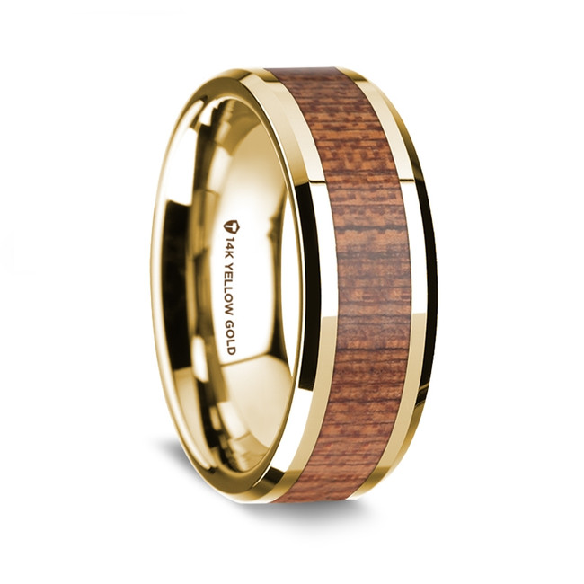 Euthydemus Polished 14K Yellow Gold Men's Wedding Band with Cherry Wood Inlay from Vansweden Jewelers